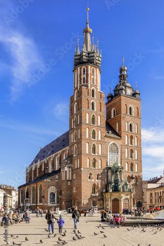 obraz PCV KRAKOW, POLAND - FEBRUARY 27, 2017: Mariacki church, Church of Our Lady Assumed into Heaven, a brick gothic church adjacent to the Main Market Square