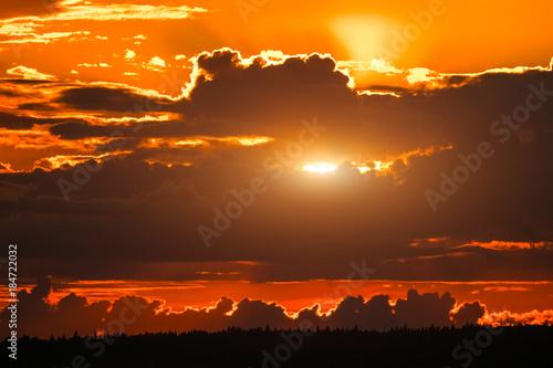Evening sky with sun during sunset