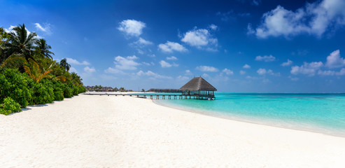 Tropischer Traumstrand der Malediven mit Kokosnusspalmen, türkisem Wasser und feinem Sand