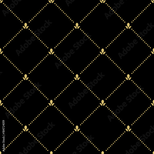 Geometric dotted golden pattern. Seamless abstract modern texture for wallpapers and backgrounds - 184724019