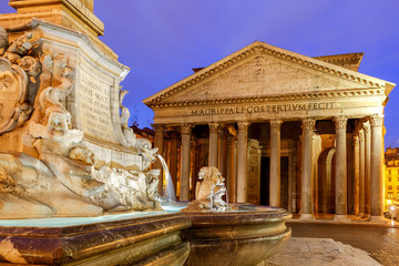 Rome. Pantheon in the night illumination.