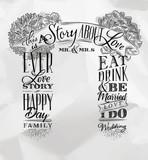 Wedding arch backdrop love story - 184740494