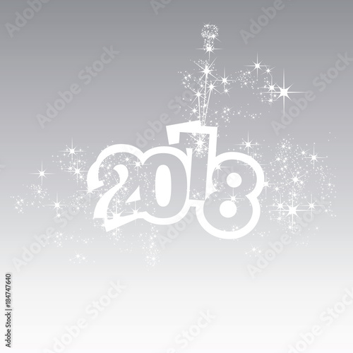 vector 2018 happy new year champagne firework grey background