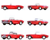 Red corvette vintage car isolated on white. 3d render