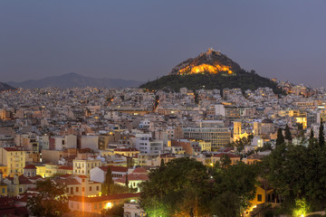 Night view from Areopagus Hill (Mars Hill) to Athens, Greece