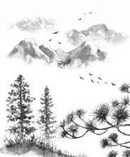 "Постер, картина, фотообои ""Oriental Ink Landscape with Mountains"""