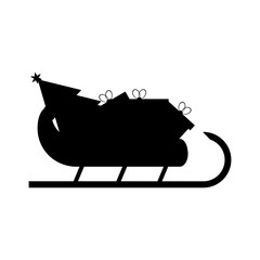 Santas Sledge with presents. Santa sleigh silhouette vector illustration isolated on white background. Simple shape style. Flat design. Icon Graphic Symbol Design.