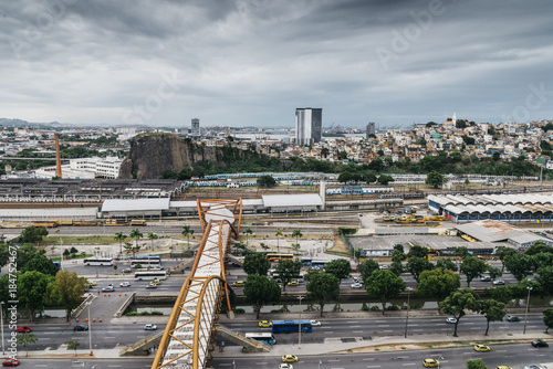 Fotobehang Rio de Janeiro Busy Avenida Presidente Vargas in Downtown Rio de Janeiro, Brazil overlooking Guanabara Bay
