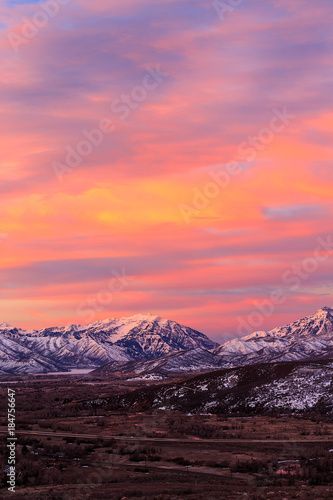 Fotobehang Koraal Wasatch winter sunrise, Utah, USA.
