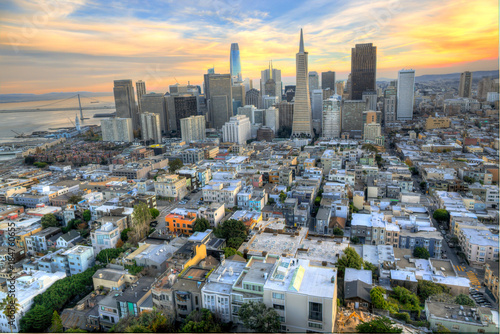 Spectacular Aerial View of the San Francisco Skyline at Sunset