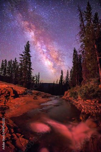 Foto op Aluminium Bordeaux Night scene in the Utah mountains, USA.