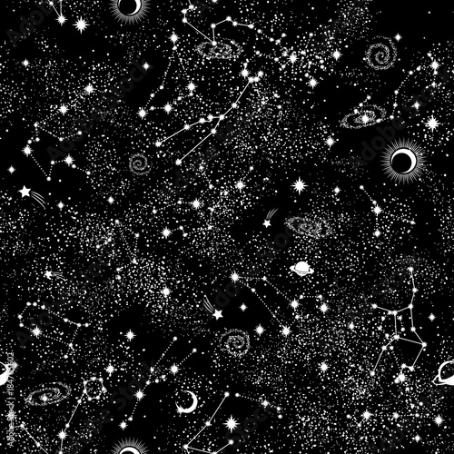Fototapeta Galaxy constilation seamless pattern print