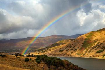 fall rainbow, Utah, USA.
