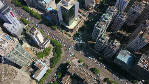 In de dag Bamboo day time shenzhen cityscape rooftop traffic crossroad aerial top view 4k china