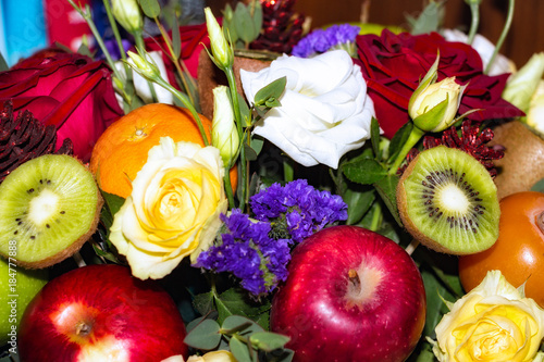 Staande foto Roses Original beautiful Bouquet of flowers and fruit