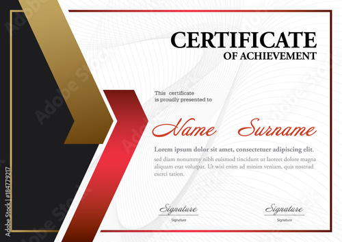 Certificate Template A4 Size Diploma Vector Illustration Buy