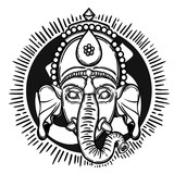 Vector illustration of Ganesha. Hindu god elephant Ganesha. Lineart. - 184781876