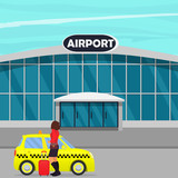 Woman with the suitcase out of the taxi or getting in a cab near airport building . Vector illustration. - 184785689