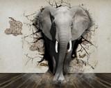 Słoń wchodzący do salonu. 3D - iluzja, fototapeta.