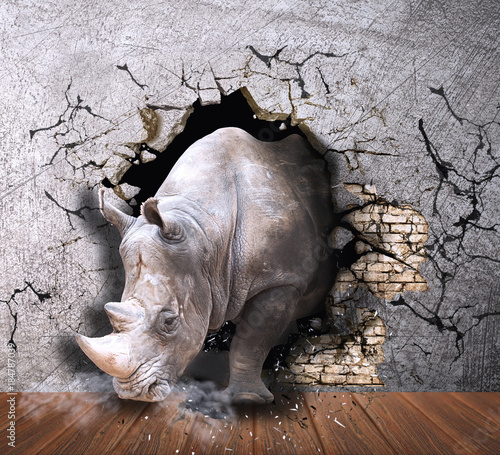 Fotobehang Neushoorn Rhino coming out of the wall. Photo wallpaper for the walls. 3D Rendering.