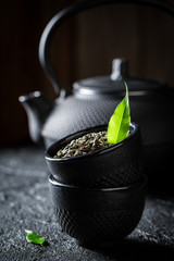 Closeup of green tea in a teacup