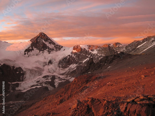 Plexiglas Zalm Sunset over Aconcagua, Argentina