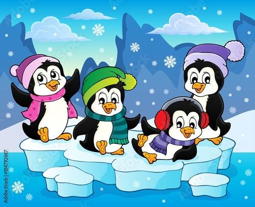 Plexiglas Voor kinderen Happy winter penguins topic image 2