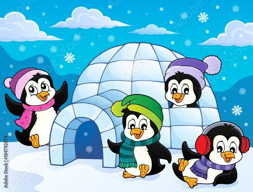 Plexiglas Voor kinderen Happy winter penguins topic image 3