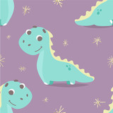Cute seamless pattern with vector dinosaur in flat style. children's illustration of dino, perfect design for cards, t-shirt or apparel print, sticker or patch design