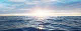 Wasserwellen im Meer bei Sonnenuntergang - 184795241