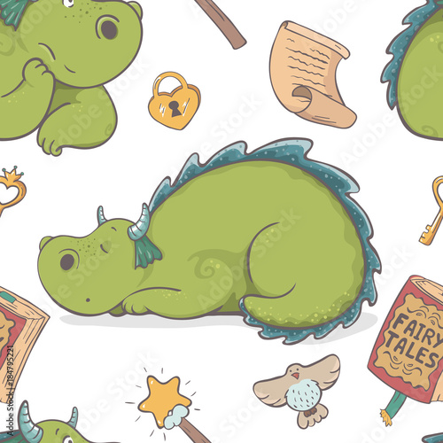 Unique cute cartoon seamless pattern with dragon and princess stuff, isolated on white background. Fantasy children's illustration