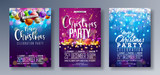 Vector Merry Christmas Party Flyer Illustration with Holiday Typography Elements and Multicolor Ornamental Balls, Cutout Paper Star, Light Garland on Shiny Background. Celebration Poster Design Set. - 184796282