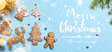 Christmas holidays ornament flat lay; Christmas card background - 184797013