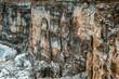 Sheer rock ridge in winter