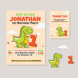 Cute Dinosaur Theme 1st Birthday Party Invitation And Thank You Card Illustration