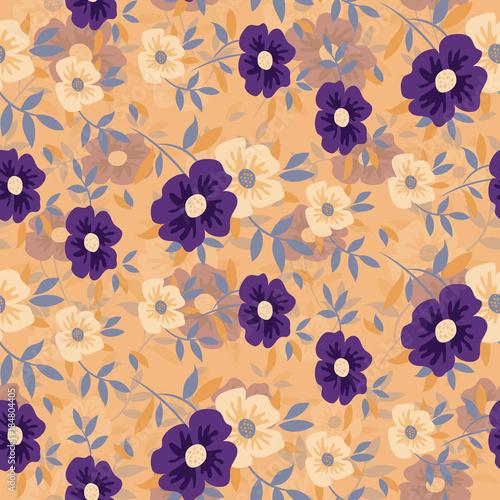Flower seamless pattern background - 184804405
