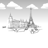 Paris, France famous landmark sketch