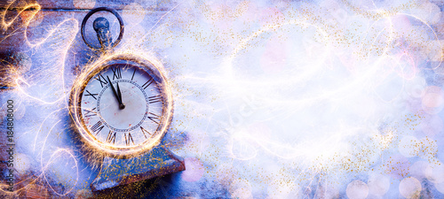 Abstract Winter Background with Clock  -  New Year  -  Symbol