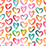 Seamless pattern with hearts. Valentine's Day. Can be used on packaging paper, fabric, background for different images, etc. Freehand drawing