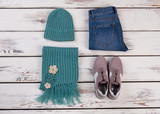 Handmade turquoise beanie and scarf - 184817217