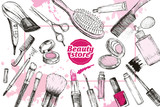 Beauty store with make up artist and hairdressing objects - 184823252