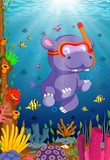 Hippo snorkeling in underwater sea