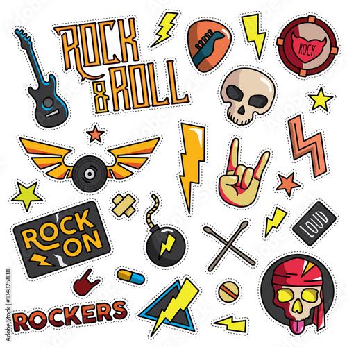Vintage 80s 90s Rock And Roll Fashion Cartoon Illustration Set