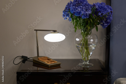 Plexiglas Hydrangea Lamp, nightstand and flowers