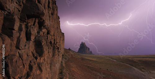 A Sky Full of Lightning at Shiprock, New Mexico Poster
