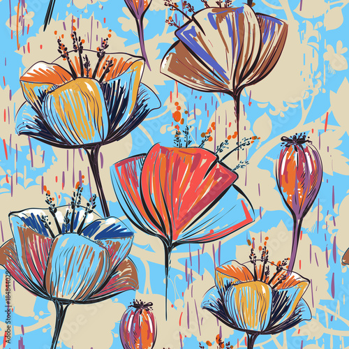 Fototapeta Hand drawn decorative tulips, seamless vector pattern