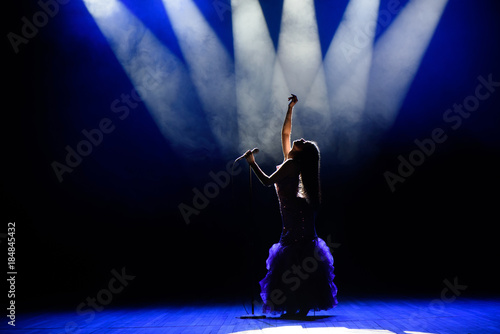 A young woman singer on stage during a concert - 184845432