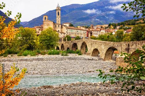 Fotobehang Freesurf Bobbio - beautiful medieval town with impressive roman bridge, Italy