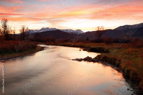 Fotobehang Bruin Provo River Sunset landscape, Utah, USA.
