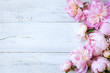 Pink peonies and roses on a wooden background - 184862875